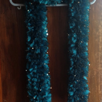 Luxurious Vibrant Turquoise Hand Knitted Lace Scarf Approx 60""