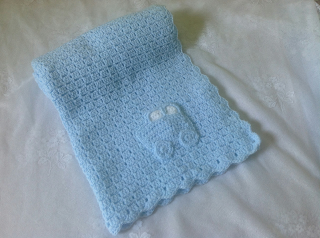 Hand Crocheted luxury Baby Blanket in Baby Blue with Car Motif