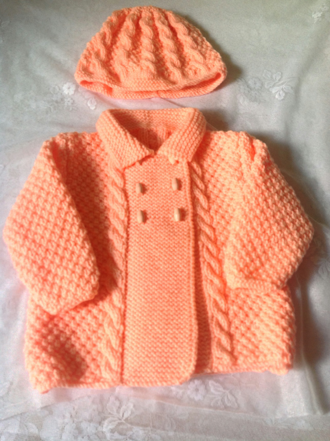 Pretty in Peach .. Beautiful Girls Coat with Hat to Match. To fit 1-2 years