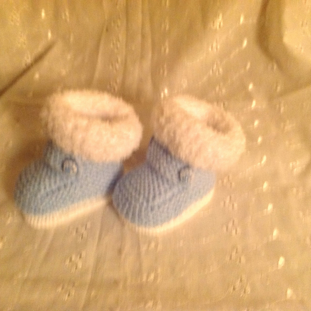Baby Boy Huggy Fur Trimmed Boots with Bar and Novelty Buttons