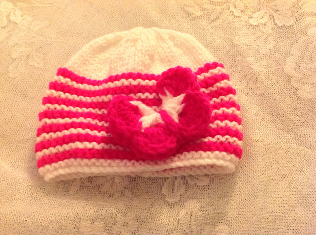 Two Baby Girls Hats to fit Newborn. Free P and P