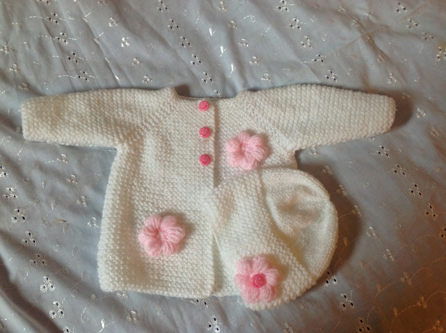 Baby Girl Jacket and Hat Set to fit Newborn