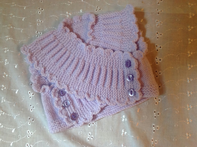 Hand Knitted Baby Bolero to fit 3-6 months in Lilac