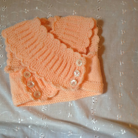 Hand Knitted Baby Bolero in Peach to  fit 3-6 months FREE POSTAGE