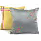 Embroidered Cushion, Grey and Yellow Cushion, Anniversary Gift, Designer Cushion