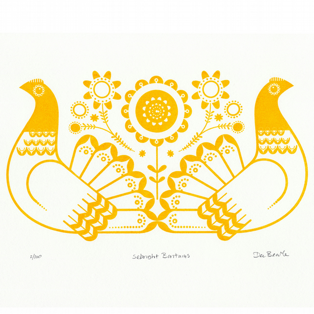 Sebright Bantams in Golden Yellow - Hand Pulled, Signed, Gocco Screen Print