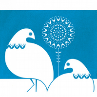 Winter Ptarmigan in Mid Blue - Hand Pulled, Signed, Gocco Screen Print