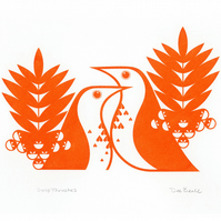 Song Thrushes in Clementine Orange - Hand Pulled, Signed, Gocco Print