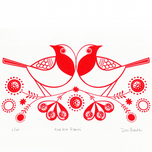 Rose Hip Robins - Hand Pulled, Signed, Gocco Screen Print