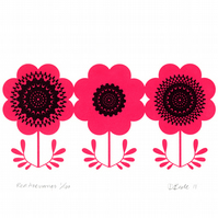 Red Anemones - Hand Pulled, Signed, Gocco Screen Print