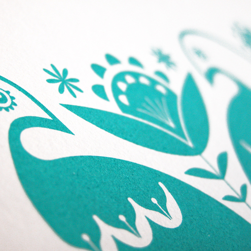 Partridges in Teal - Hand Pulled, Signed, Gocco Screen Print