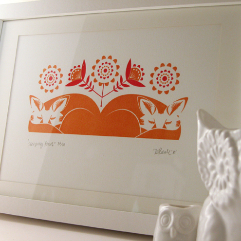 Sleeping Foxes - Hand Pulled, Signed, Limited Edition, Gocco Print