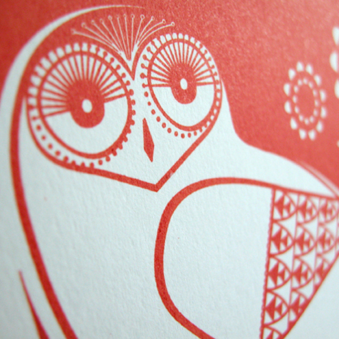 Snowy Owls Hand Pulled, Limited Edition, Signed, Gocco Screen Print