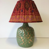 Red and Gold Gathered Lampshade and Base