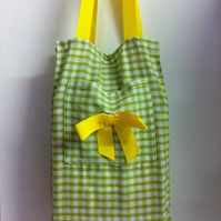 Spring Green Gingham Shopping Tote - Folds flat.