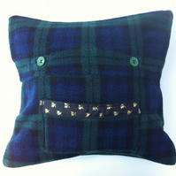 Tartan Fleece 33cm x 34cm Cuddle Cushion with Pocket.