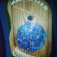 Custom Celtic larpharp lyre zither in hardwood. Hand painted. Unique gift