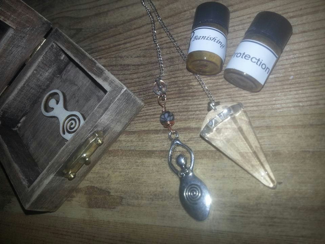 Boxed gemstone Goddess pendulum set with ritual incense - unique gift - pagan.