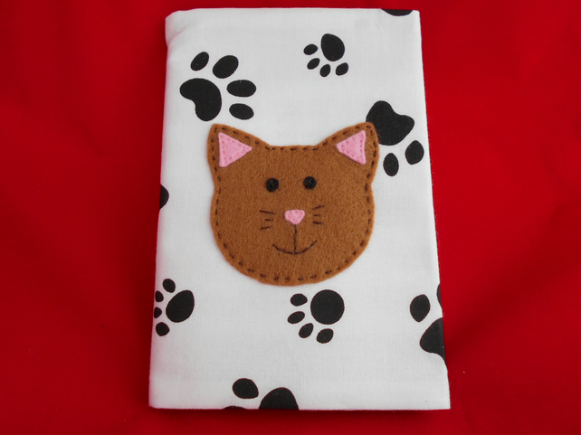 Cat Fabric Notebook cover - paw print fabric with Applique CAT. size A6