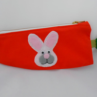 Rabbit - Pencil Case - Carrot shaped lined Pencil case - GIFT