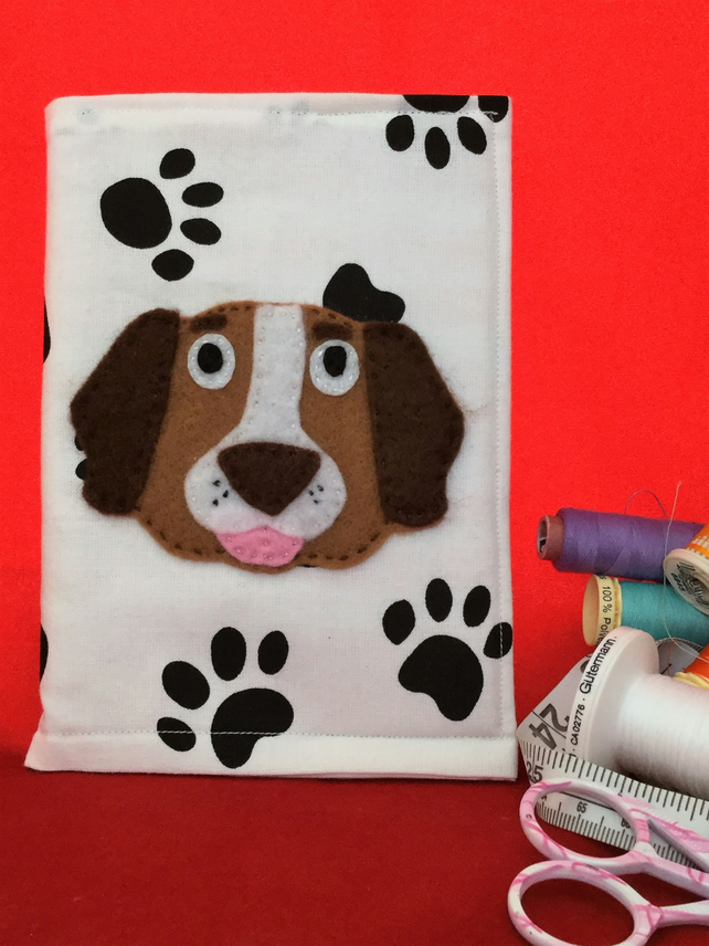 DOG - Fabric Notebook cover - paw print fabric with Applique DOG. size A6