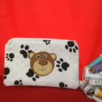 Pencil Case with Teddy Bear Applique - lined pencil case.