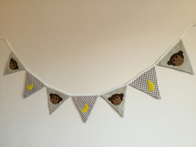 Monkey Bunting - Handmade Monkey and Bananas Bunting - Lined - spotty fabric.