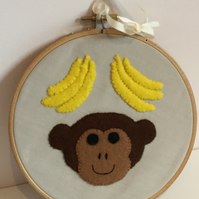 MONKEY - Handmade - Monkey & Bananas - Hoop Art - Wall Art - Kids - Nursery.
