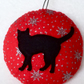 Christmas cat bauble - hanging decoration - Christmas tree decoration, cat decor