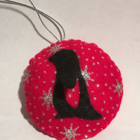 Penguin bauble - Christmas tree decoration - Red - Pawcrafts