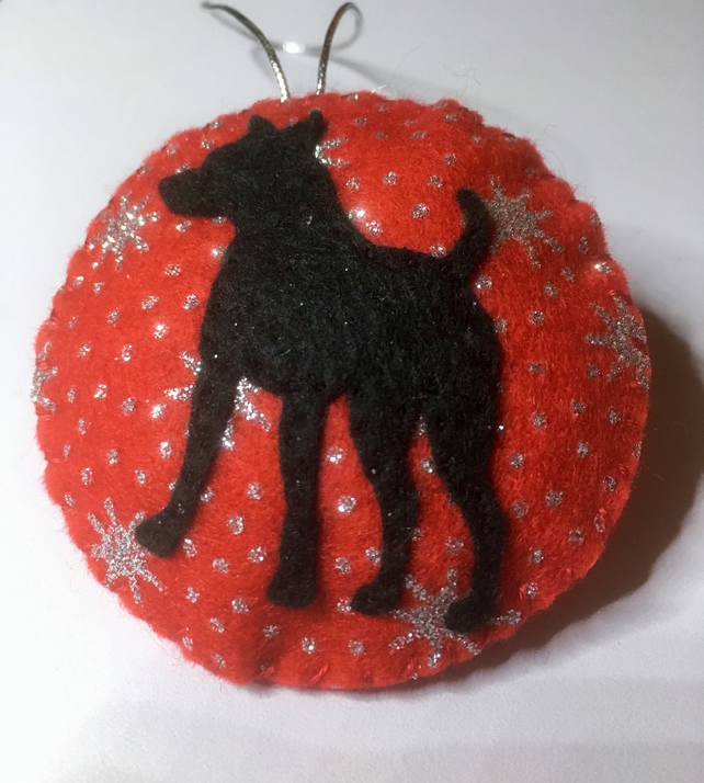 Black Dog bauble, Christmas tree decoration, Silhouette, Animal, Pet, Gift