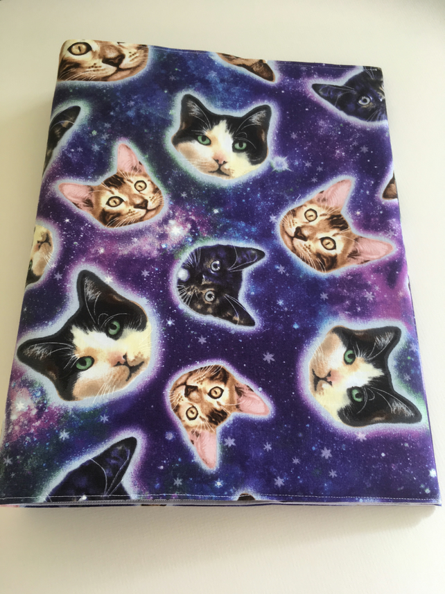 SPACE, CAT RINGBINDER COVER, File, Stationery, Gift, Animal Lover Gift