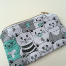Cat, Pencil Case Black, White and Green, stationery, gift idea, Christmas,