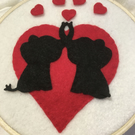 ELEPHANTS  HEART, Valentine, Handmade, Decoration, Hoop Art, Wall Art, Pawcrafts