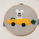 Bunny Rabbit & Carrot Car Hoop Art, Handmade, Wall Art, Easter, Spring, Gift