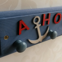 Ahoy! Blue nautical coat rack