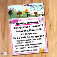 Barbecue summer invitation - Pack of 10 (0.56 each) 200 GSM paper