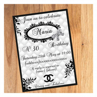 Personalized Adult Birthday Invitation - Any age - pack of 10