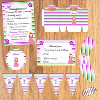Personalized Party Pack for girls - Princess party- 55 products