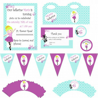 Personalized Party Pack - ballerina party- 56 products