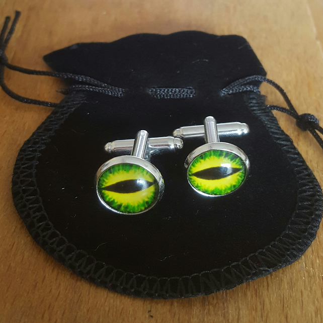 Bright Green 'Dragon Eye' cufflinks