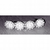 Faux Pearl and Diamante Barrette Clip