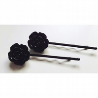 Black Rose Hairpins