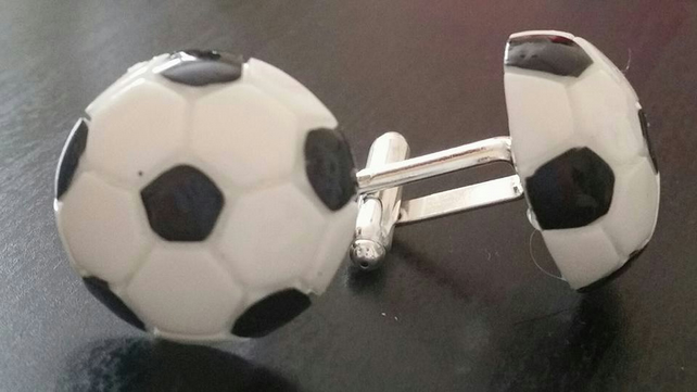 Silver Plated Football Cufflinks