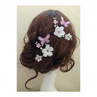 Chochi Flower and Butterfly Cherry Blossom Hair Bobby clips
