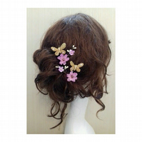 Rian Flower and Butterfly Cherry Blossom Hair Bobby clips