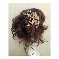 Trulea Flower and Butterfly Gold Metallic Hair Bobby clips