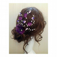 Tina Cherry Blossom Purple Flower Hair Comb Fascinator