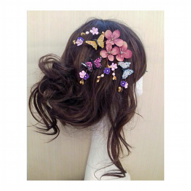 Keemy Flower and Butterfly Cherry Blossom Hair Bobby clips