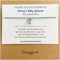 Baby Shower Favour Thank You Wish Bracetet On A Card